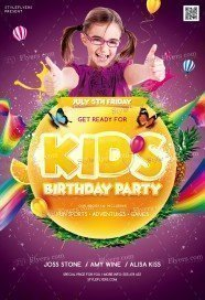 Kids Birthday Party PSD Flyer Template