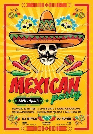 mexican party psd flyer template 23742 styleflyers