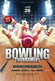 Bowling Tournament PSD Flyer Template
