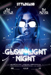 Glow Light Night PSD Flyer Template