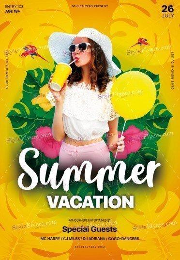 Summer Vacation PSD Flyer Template