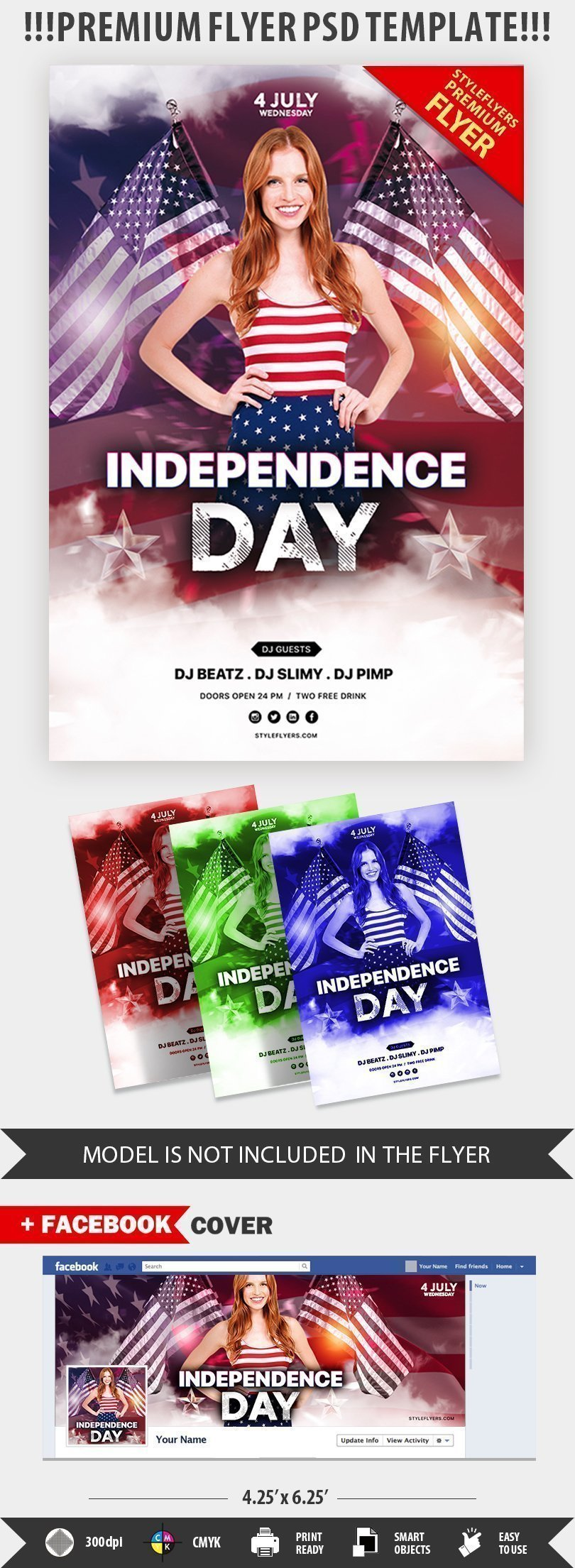 Independence Day PSD Flyer Template #24778 - Styleflyers