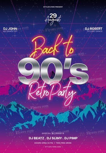 Back-to-90's—Retro-Party_psd_flyer