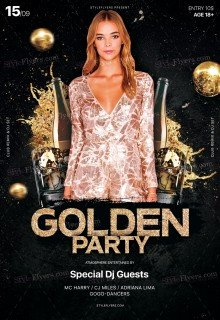 Golden Party PSD Flyer Template