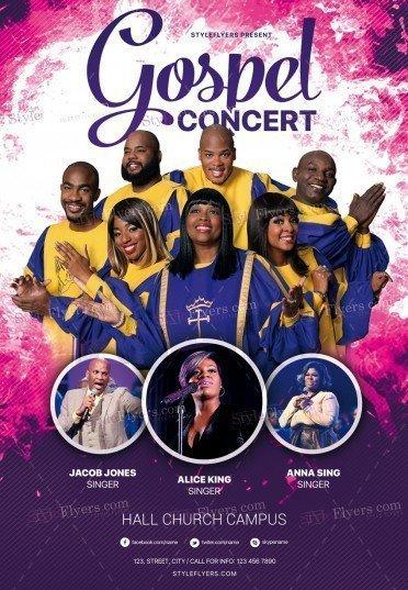 gospel concert psd flyer template 25260 styleflyers
