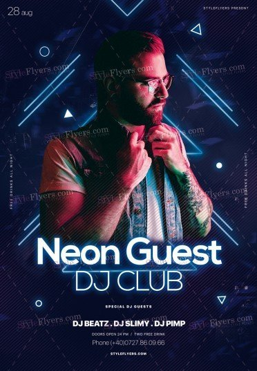 neon guest dj club psd flyer template