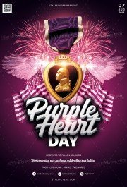 Purple Heart Day PSD Flyer Template