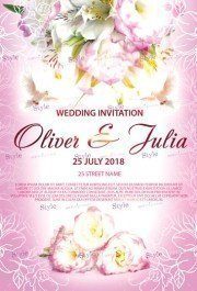 Wedding Invitation PSD Flyer Template