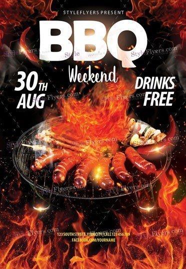 BBQ Weekend PSD Flyer Template
