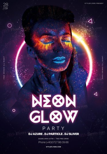 Azure Flyer Template | Neon Glow Party Psd Flyer Template 25717 Styleflyers