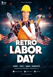 Retro Labor Day PSD Flyer Template