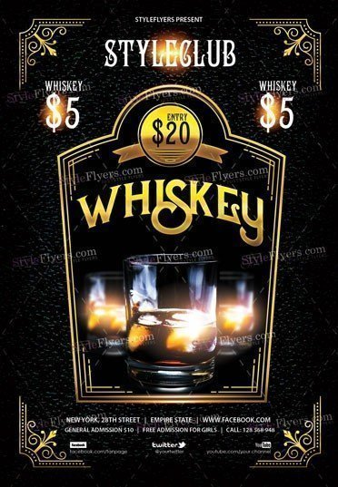 Whiskey Party PSD Flyer Template