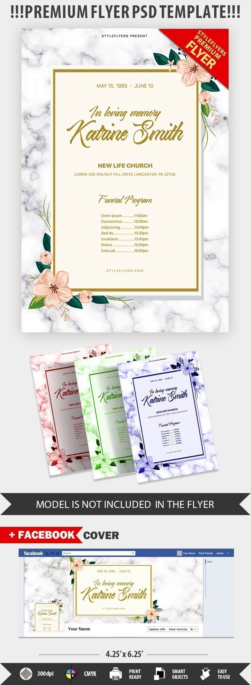 Funeral Program PSD Flyer Template Even The Can Look Trendy And Modern If You Want To Show Your True Taste In Organization