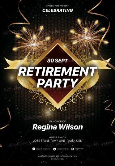 Retirement Party Psd Flyer Template 26266 Styleflyers