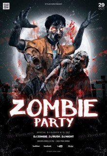 Zombie Party PSD Flyer Template