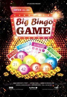 big bingo game psd flyer template