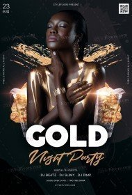 Gold Night Party PSD Flyer Template
