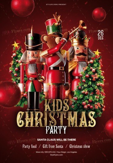 Kids Christmas Party PSD Flyer Template