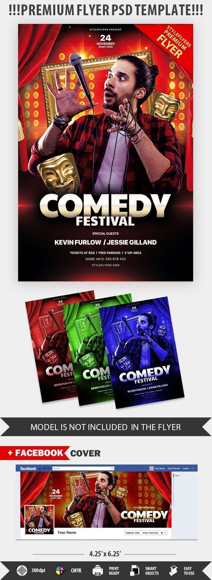 comedy night psd flyer template  27149