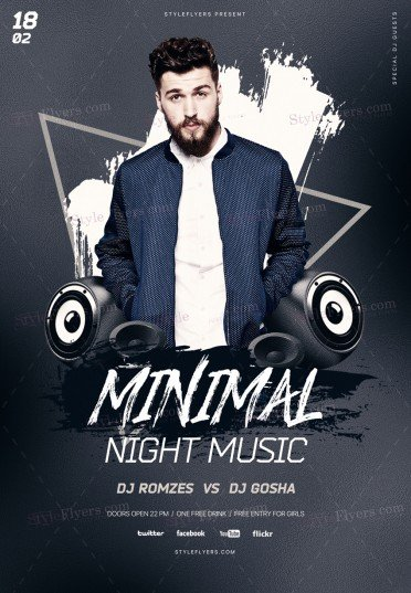Minimal Night Music PSD Flyer Template