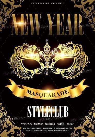New Year Masquarade PSD Flyer Template