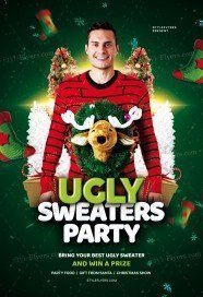 Ugly Sweaters Party PSD Flyer Template