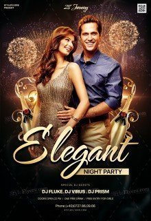 Elegant Night Party PSD Flyer Template