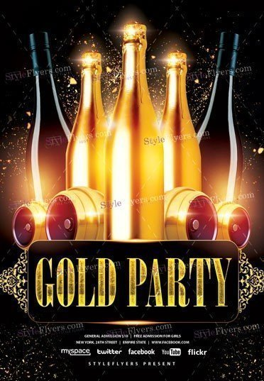 Gold PSD Party Flyer Template