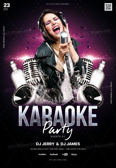 Karaoke Party PSD Flyer Template