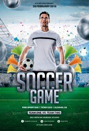 Soccer Game PSD Flyer Template