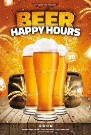 Beer Happy Hours PSD Flyer Template