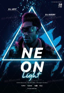 Neon Light PSD Flyer Template