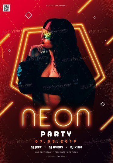 Neon Party PSD Flyer Template