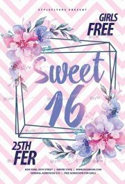 Sweet 16 PSD Flyer Template