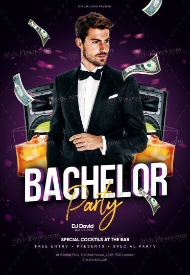 Bachelor Party PSD Flyer Template (1)
