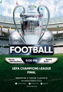 Football UEFA Champions League Final PSD Flyer Template