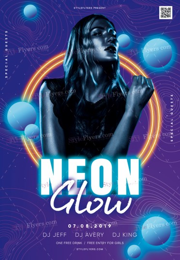 Neon Glow PSD Flyer Template