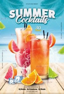 Summer Cocktails PSD Flyer Template