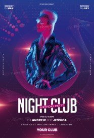 Night Club Birthday Party PSD Flyer Template