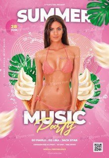 Summer Music Party PSD Flyer Template