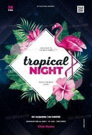 Tropical Night PSD Flyer Template