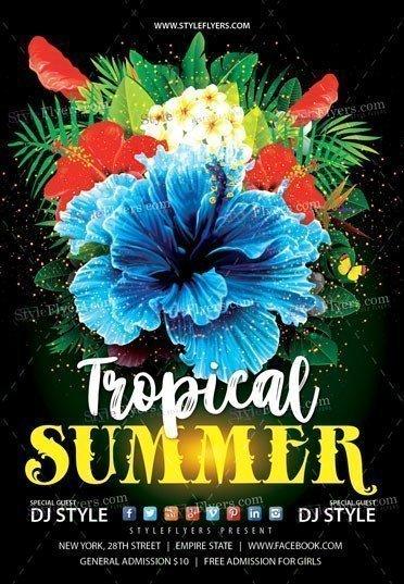 Tropical Summer Flyer PSD Template