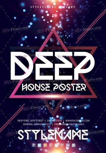 Deep House Poster PSD Flyer Template