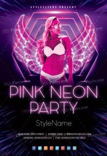 Pink Neon Party Flyer