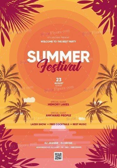 Summer Festival PSD Flyer Template