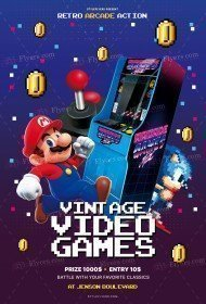 Vintage Video Games PSD Flyer Template