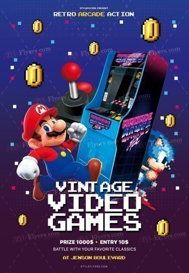 Vintage Video Games PSD Flyer Template