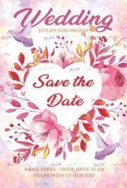 Wedding Save The Date PSD Flyer Template