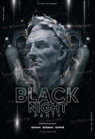 Black Night Party PSD Flyer Template