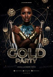 Gold Party PSD Flyer Temlpate